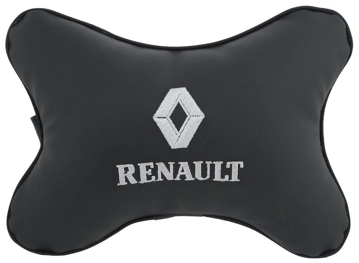 Подушка автомобильная Autoparts Renault, на подголовник, цвет: черный, белый, 30 х 20 см