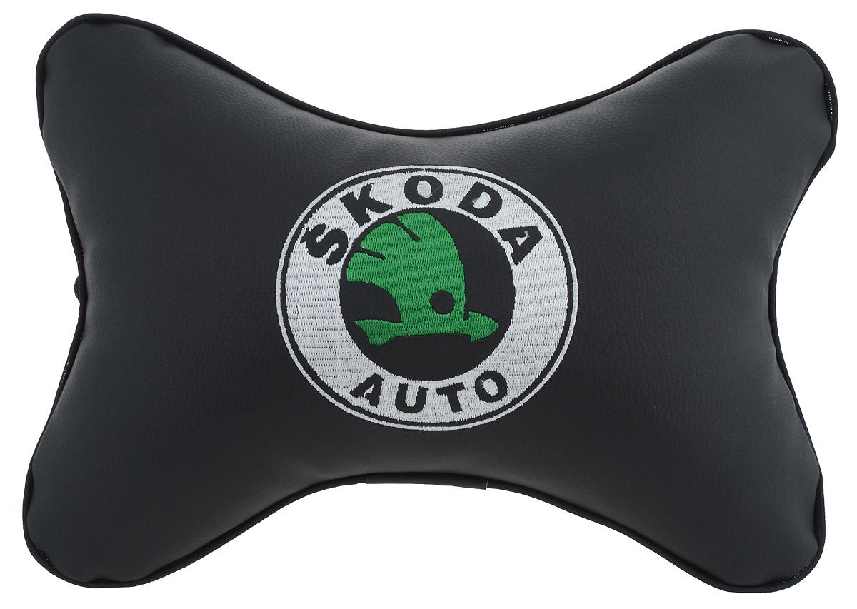 """Подушка автомобильная Autoparts """"Skoda"""", на подголовник, цвет: черный, белый, зеленый, 30 х 20 см"""