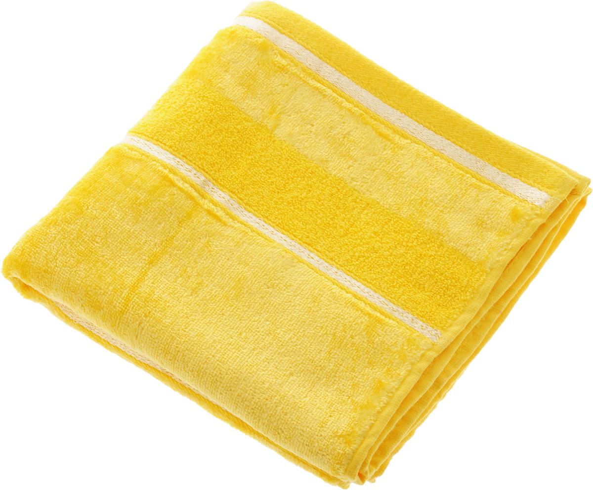Полотенце Soavita Louise, цвет: желтый, 50 х 90 см64031Полотенце Soavita Louise выполнено из 100% хлопка. Все детали качественно прошиты, ткань очень плотная и не линяет. Изделие отлично впитывает влагу, быстро сохнет, сохраняет яркость цвета и не теряет форму даже после многократных стирок. Полотенце очень практично и неприхотливо в уходе. Оно подарит прекрасное настроение и украсит интерьер в ванной комнате.Рекомендуется стирка при температуре 40°C.