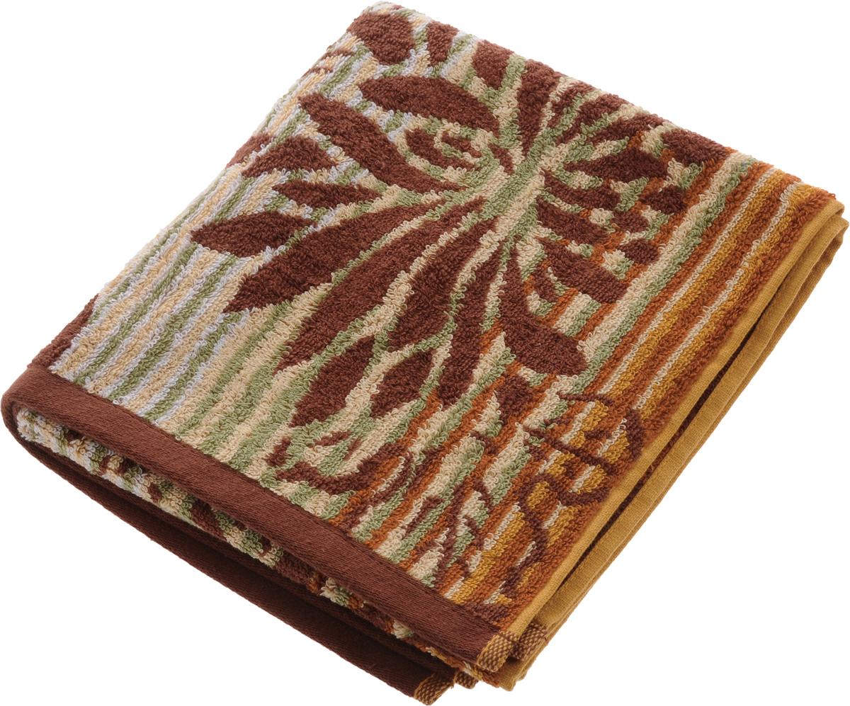 Полотенце Soavita Premium. Веер, цвет: коричневый, бежевый, зеленый, 45 х 90 см полотенце кухонное soavita цвет светло зеленый 40 х 60 см 48803