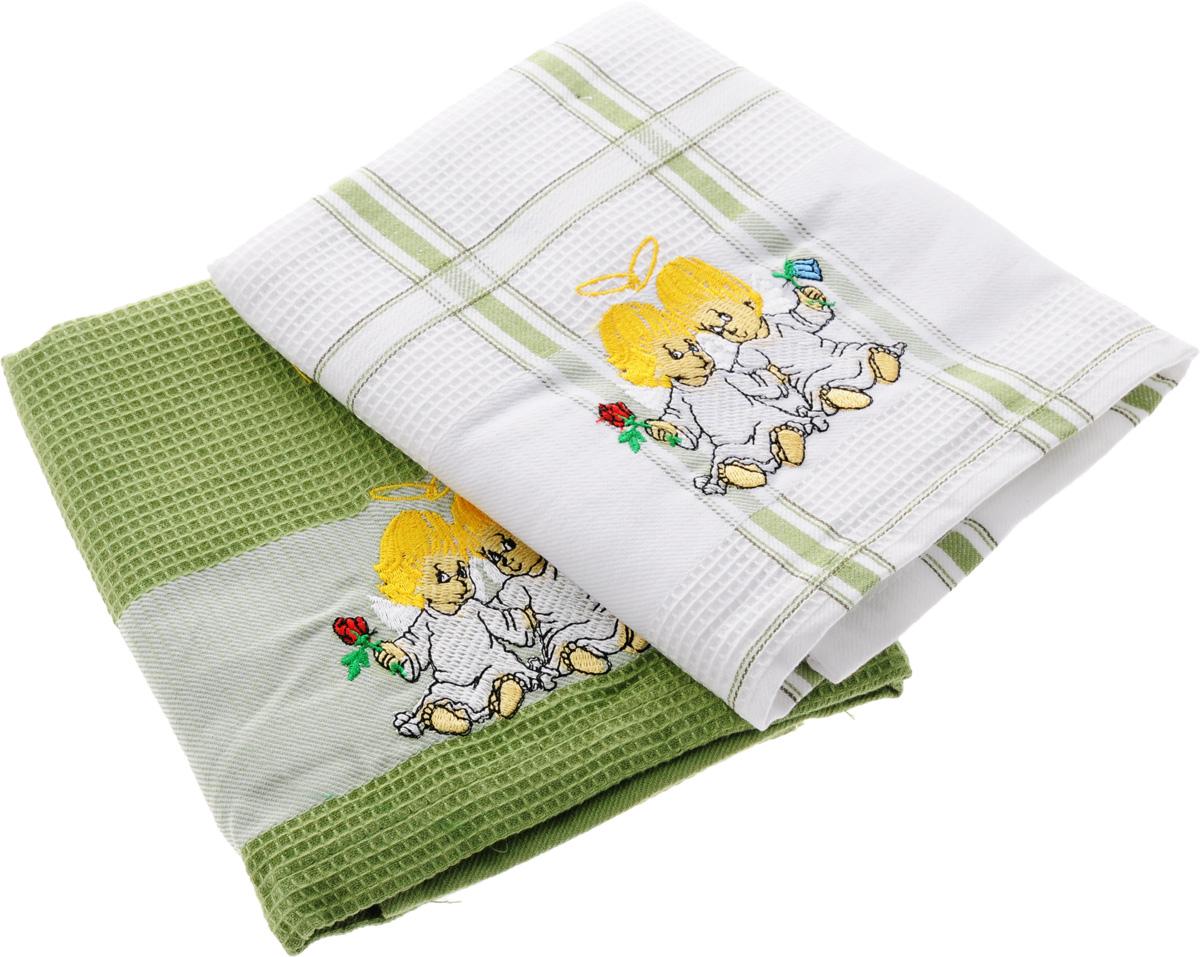 Набор кухонных полотенец Soavita Подарочное, цвет: белый, оливковый, 43 х 68 см, 2 шт. 4548845488Набор Soavita Подарочное состоит из двух полотенец, выполненных из 100% хлопка. Изделия оформлены вышитым рисунком в виде ангелочков и предназначены для использования на кухне и в столовой.Набор полотенец Soavita Подарочное - отличное приобретение для каждой хозяйки.Комплектация: 2 шт.