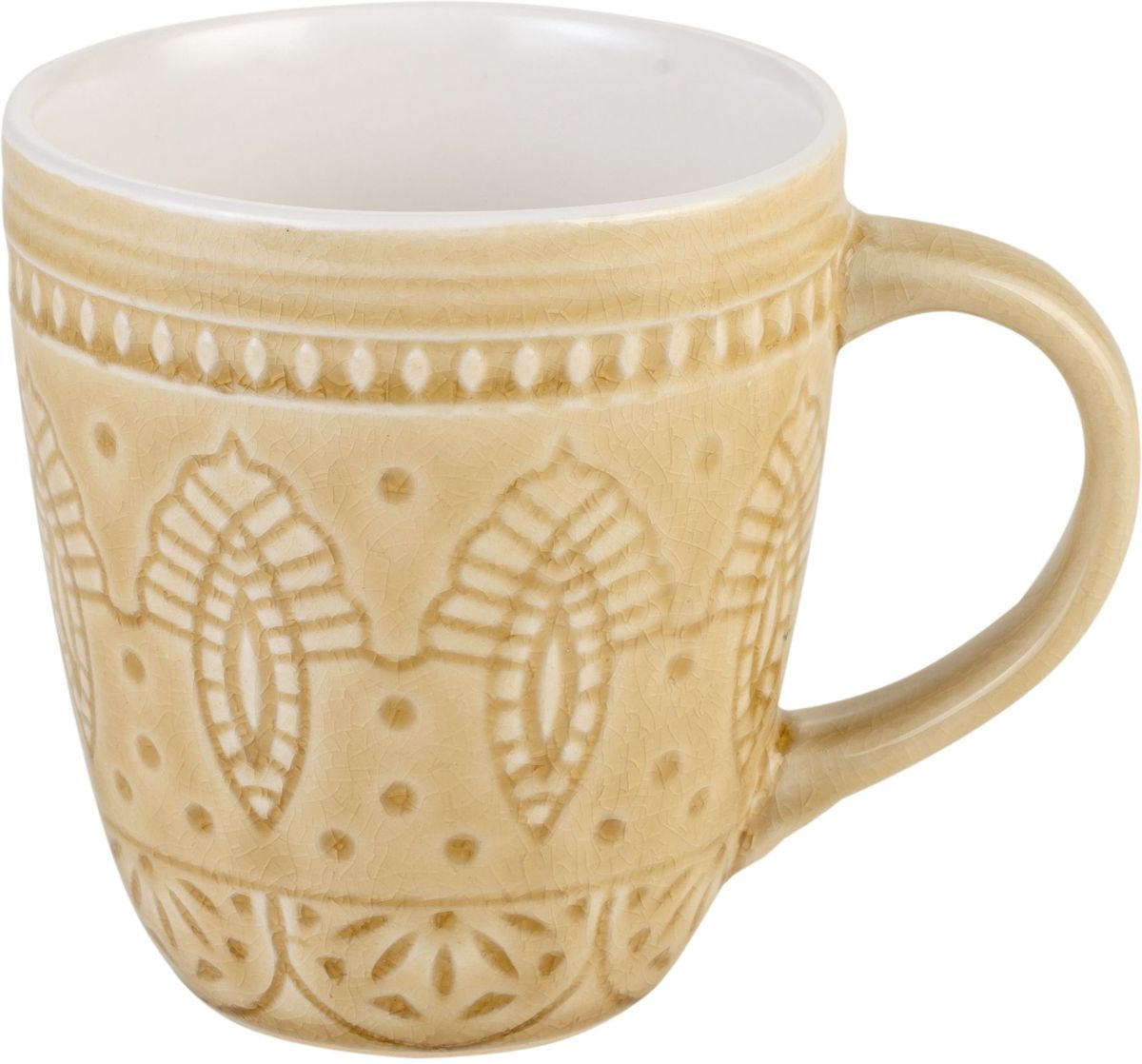 Набор кружек Tongo, цвет: золотая рожь, 350 мл, 6 штM-350y Tongo Набор кружекКружки Tongo изготовлены из экологически чистой каменной керамики, покрытой сверкающей глазурью. Изделие оформлено изысканным рельефным орнаментом. Поверхность слегка потрескавшаяся, что придает посуде винтажный вид и оттенок старины. Такие кружки прекрасно оформят стол к чаепитию и станут его неизменным атрибутом.Можно использовать в посудомоечной машине и СВЧ.