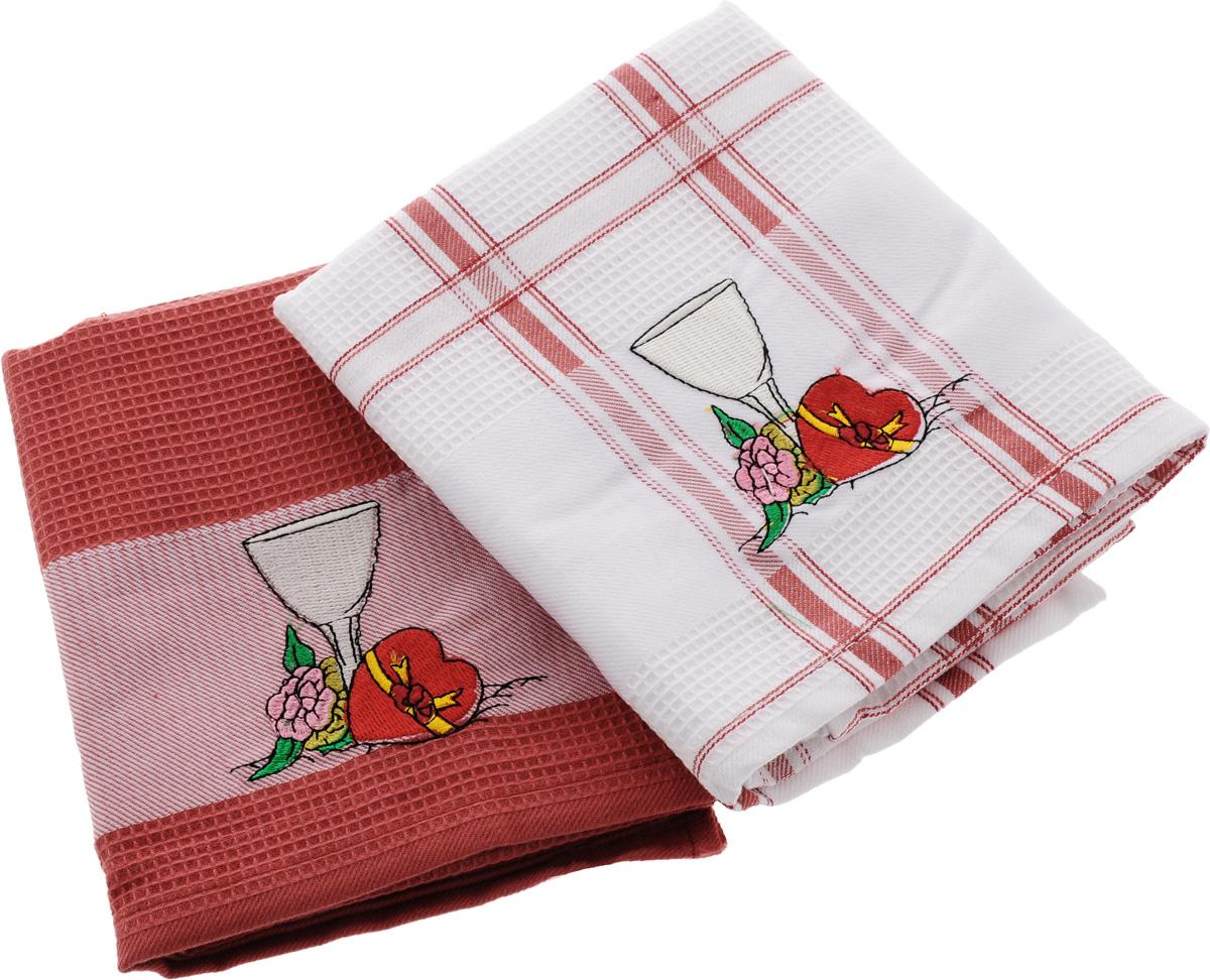 Набор кухонных полотенец Soavita Дуэт, цвет: красный, белый, 43 х 68 см, 2 шт. 42834 набор кухонных полотенец bon appetit cake цвет синий 2 шт