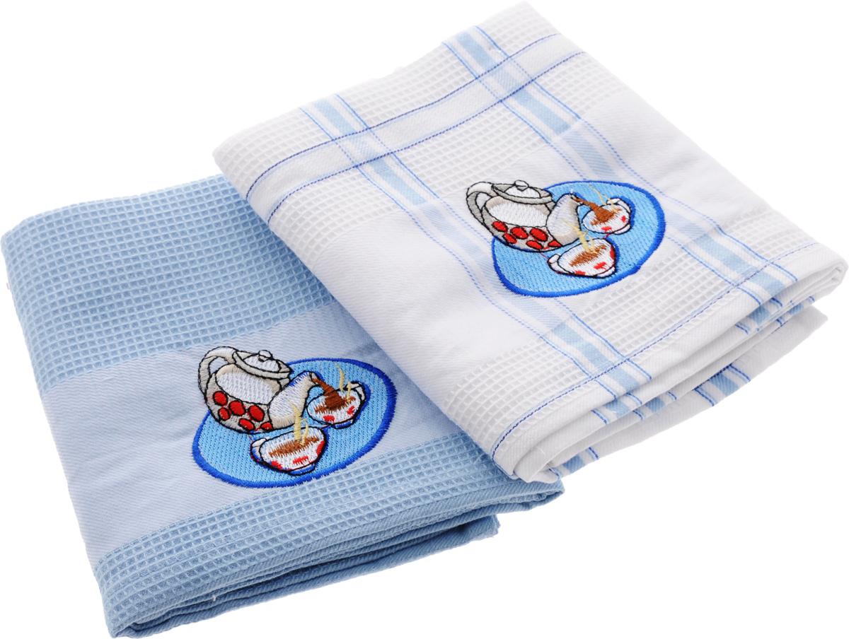 Набор кухонных полотенец Soavita Дуэт, цвет: голубой, белый, 43 х 68 см, 2 шт набор формочек для выпечки сердце 2 шт 631190