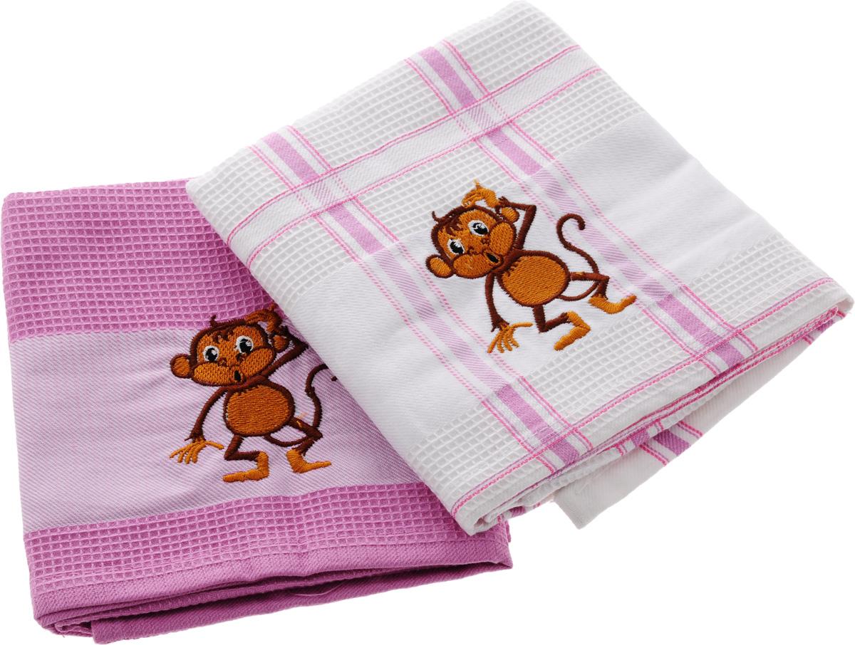Набор кухонных полотенец Soavita Символ года, цвет: белый, розовый, 43 х 68 см, 2 шт. 74704 набор полотенец 2 шт fiesta textile цвет розовый