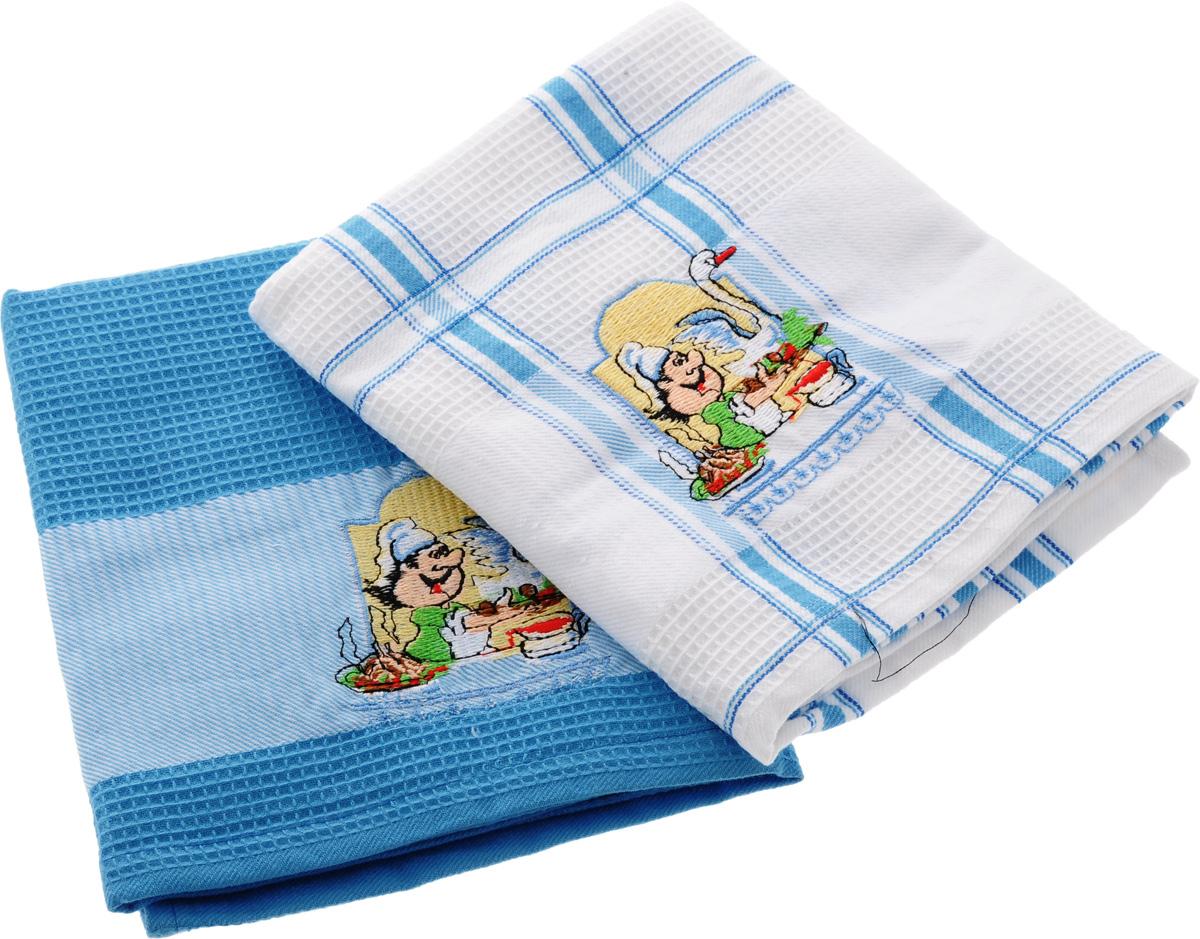 Набор кухонных полотенец Soavita Повар, цвет: белый, голубой, 45 х 70 см, 2 шт. 47776