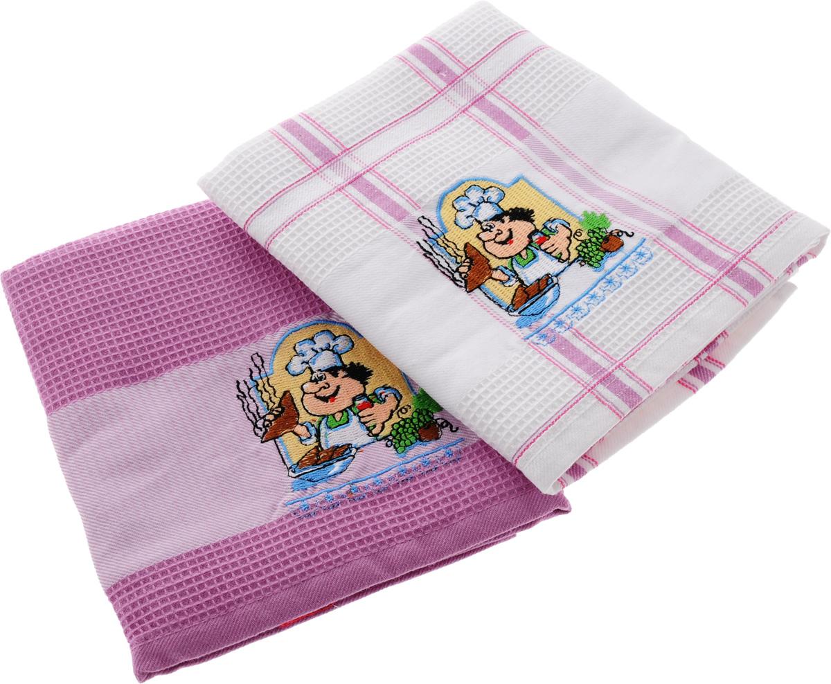 Набор кухонных полотенец Soavita Повар, цвет: белый, розовый, 45 х 70 см, 2 шт. 47774 набор полотенец 2 шт fiesta textile цвет розовый