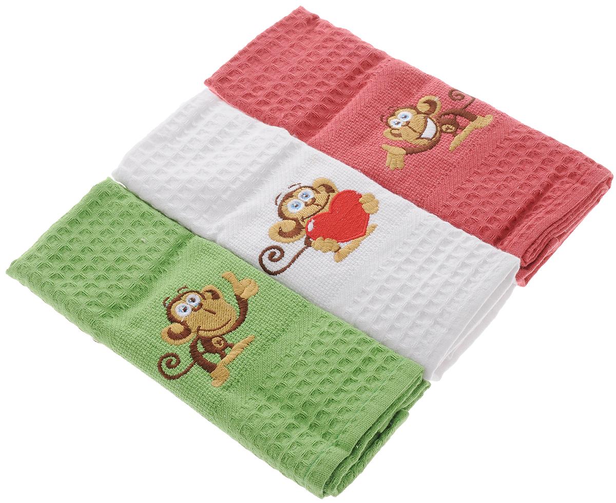 Набор кухонных полотенец Soavita Monkey, 40 х 60 см, 3 шт80586Набор Soavita Monkey состоит из трех полотенец, выполненных из 100% хлопка. Изделия предназначены для использования на кухне и в столовой.Полотенца упакованы в пластиковую сумку с текстильной ручкой.Набор полотенец Soavita Monkey - отличное приобретение для каждой хозяйки.Комплектация: 3 шт.