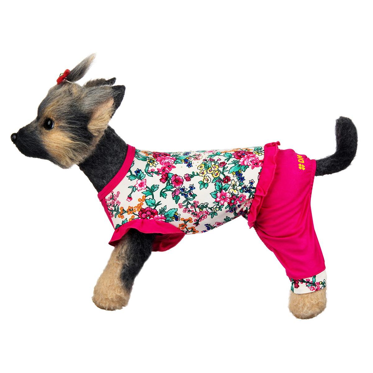 """Комбинезон для собак Dogmoda """"Оливия"""", для девочки, цвет: розовый, белый. Размер 4 (XL)"""