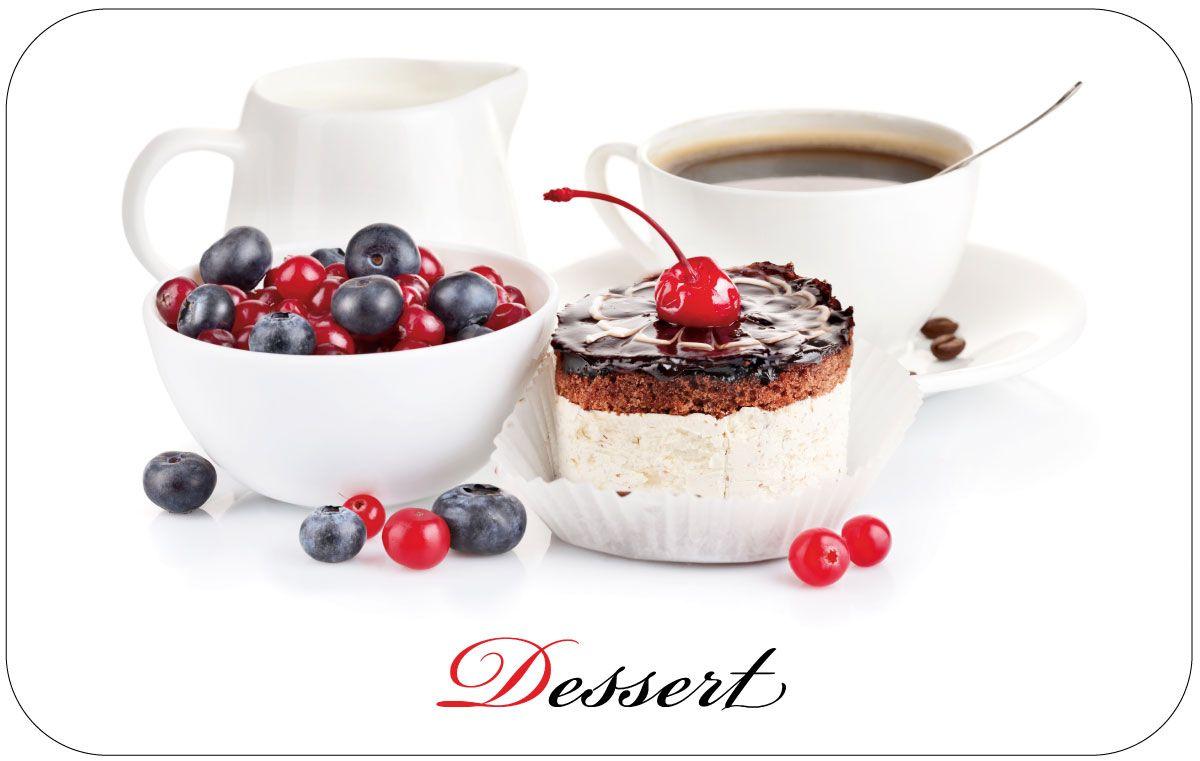 """Салфетка Пластмаркет """"Десерт"""", выполненная из ПВХ, предназначена для сервировки стола. Она служит защитой от царапин и различных следов, а также используется в качестве подставки под горячее. Оригинальный рисунок дополнит стильную сервировку стола.  Размер салфетки: 41 х 26 см."""