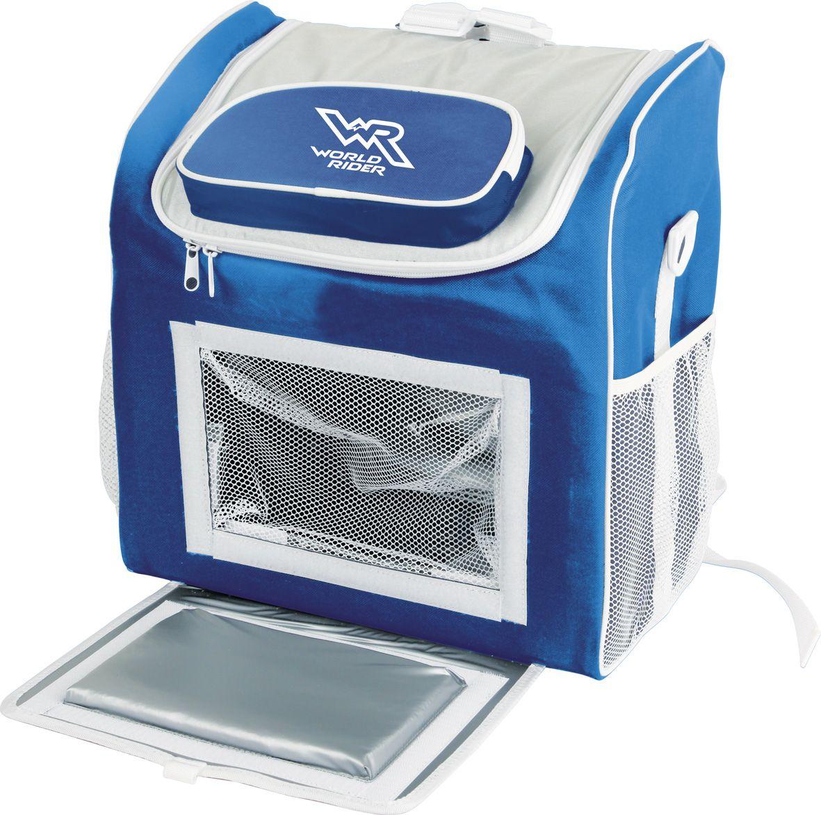 """Сумка-холодильник """"World Rider"""" длительное время сохраняет продукты в свежем  состоянии, поддерживает температуру на нужном уровне. Обеспечивает разницу  температур 10–12°С по отношению к температуре окружающей среды. Сумка  имеет долговечный бесколлекторный мотор и съемную систему охлаждения.  Идеально подходит для поездки на дачу и на пикник. Для удобной переноски  сумка имеет форму рюкзака и съемный плечевой ремень. Дополнительное  отделение на крышке и два боковых кармана создают дополнительное удобство.  Напряжение: DC 12 В. Потребляемая мощность: 40–65 Вт."""