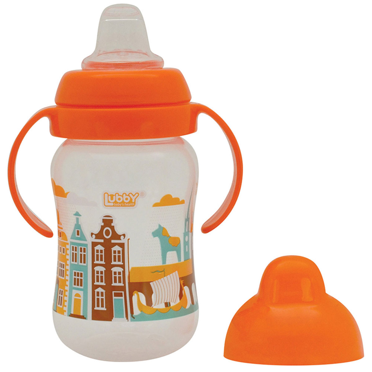 Lubby Поильник-непроливайка Любимый от 6 месяцев цвет оранжевый 250 мл поильники lubby непроливайка со сменным носиком малыши и малышки 150 мл