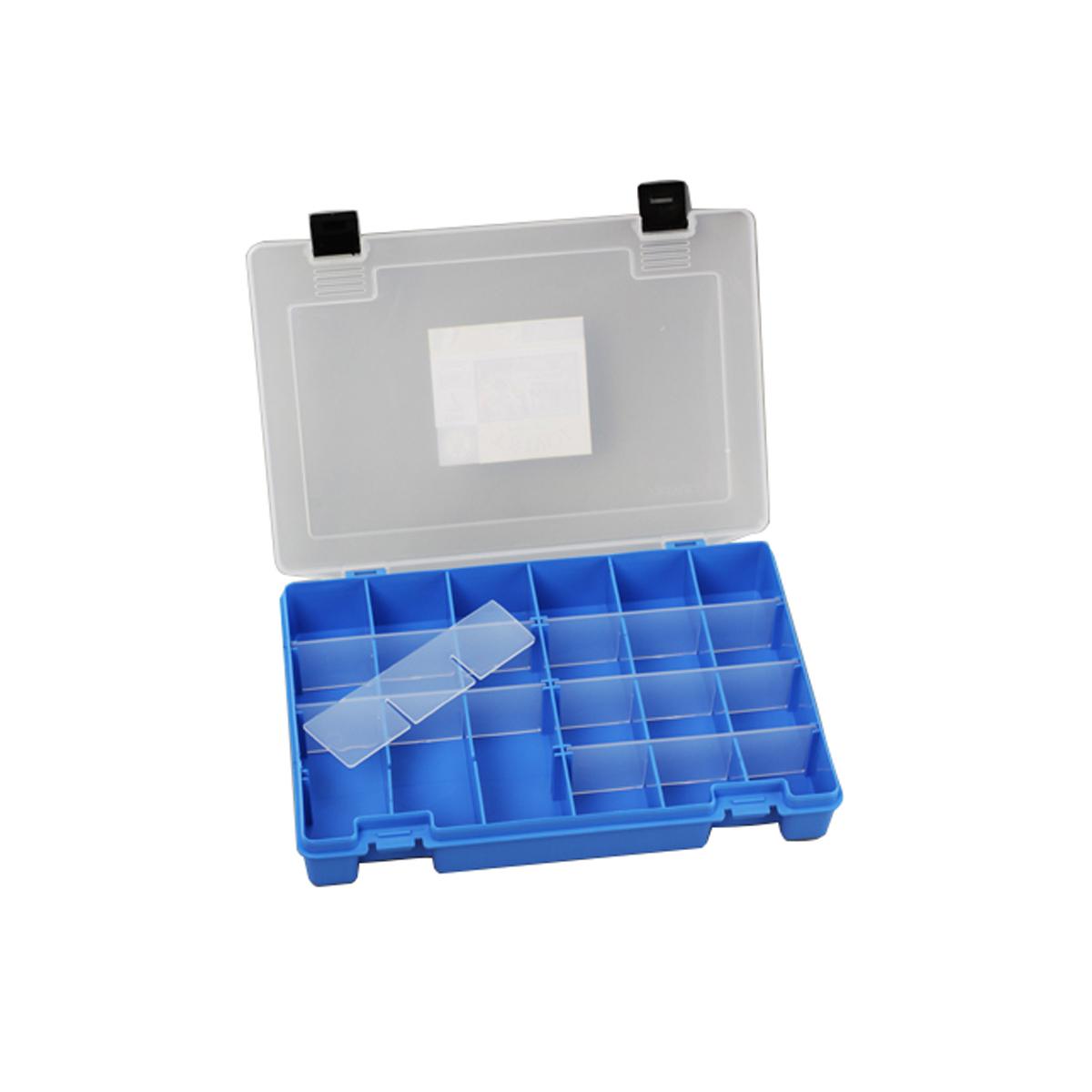 Коробка для мелочей Trivol, цвет: синий, прозрачный, 27,4 х 18,8 х 4,5 см498015Коробка для мелочей Trivol, выполненная из прочного полипропилена (пластика), отлично подойдет для хранения канцелярских принадлежностей дома или в офисе, аксессуаров для шитья и рукоделия, болтов и гаек, а также принадлежностей для рыбалки и других видов хобби. Изделие имеет прочные съемные разделители, с помощью которых можно регулировать количество ячеек. Прозрачный материал позволяет видеть содержимое. Крышка коробки плотно закрывается на 2 защелки. Коробка легко моется и чистится. Она поможет держать ваши вещи в порядке. Размер ячейки: 4,5 х 4,5 х 4 см.