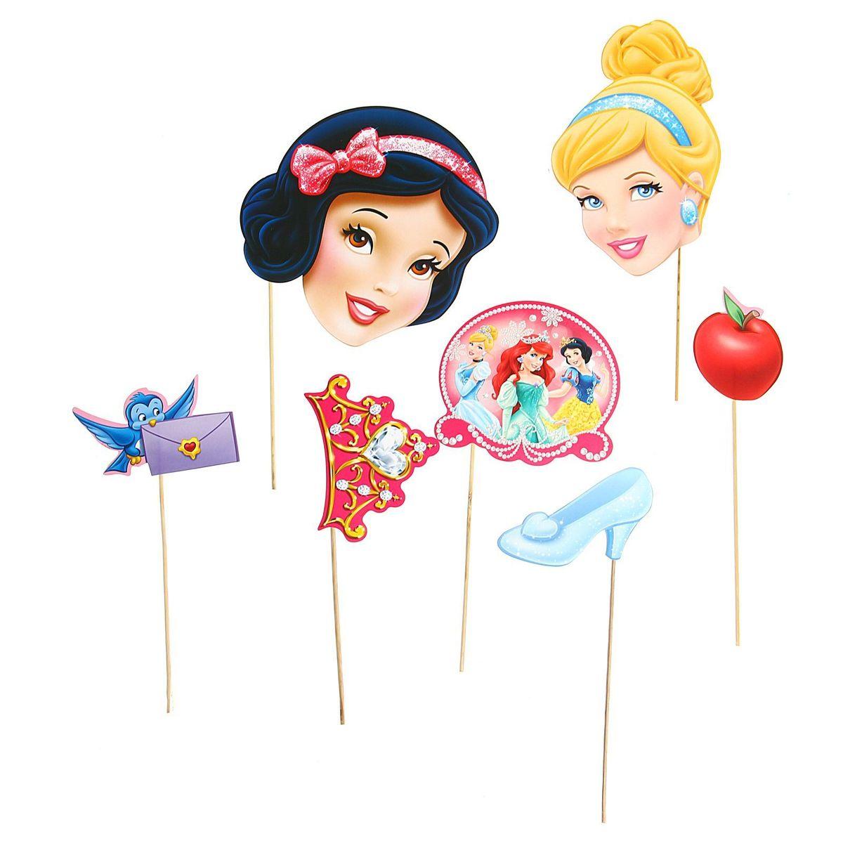 Набор фотобутафории Disney Принцессы, 7 предметов набор секретная раскраска disney принцессы