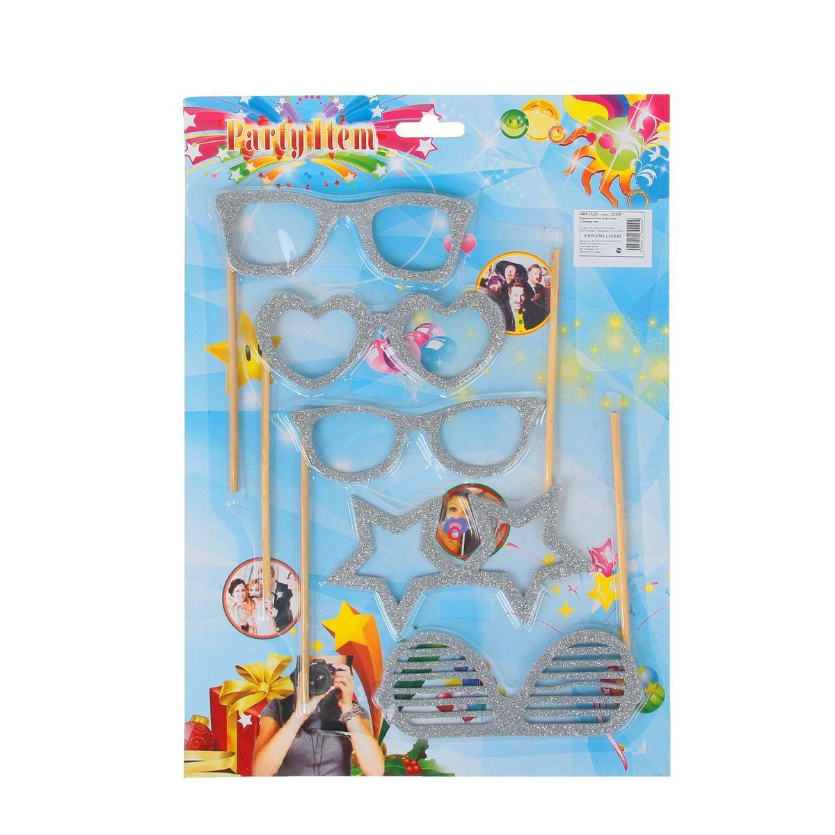 Аксессуары для фотосессии на палочке Sima-land Гламурные очки, 5 предметов, цвет: серебряный аксессуары на шевроле ниву