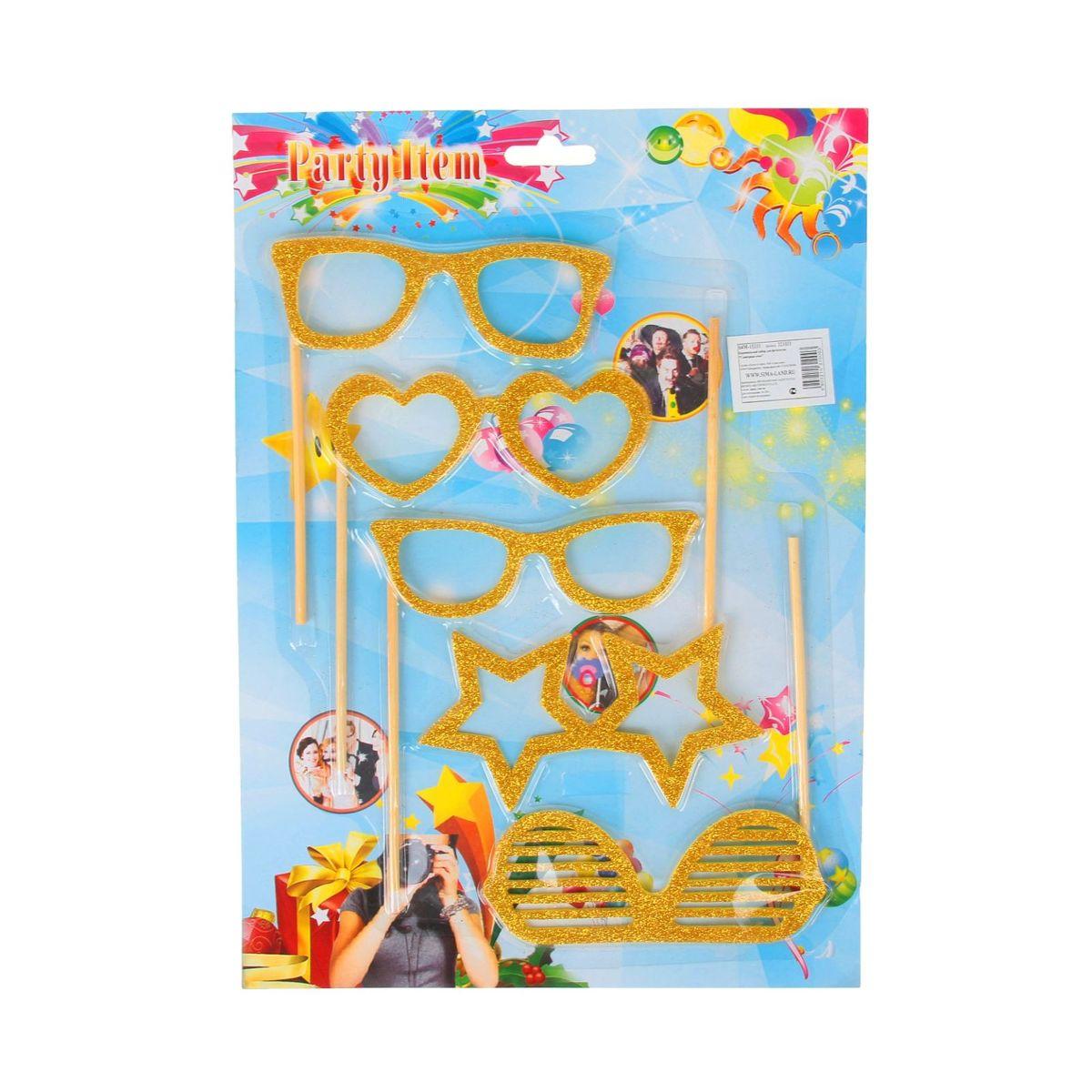 Аксессуары для фотосессии на палочке Sima-land Гламурные очки, 5 предметов, цвет: золотой аксессуары на шевроле ниву
