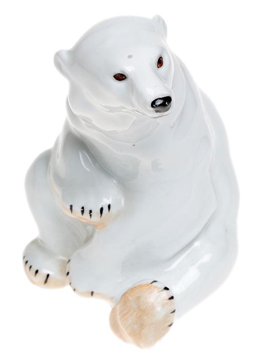 Статуэтка Белый медведь. Фарфор, роспись. ЛФЗ. СССР, 1940-е - 1950-е гг.