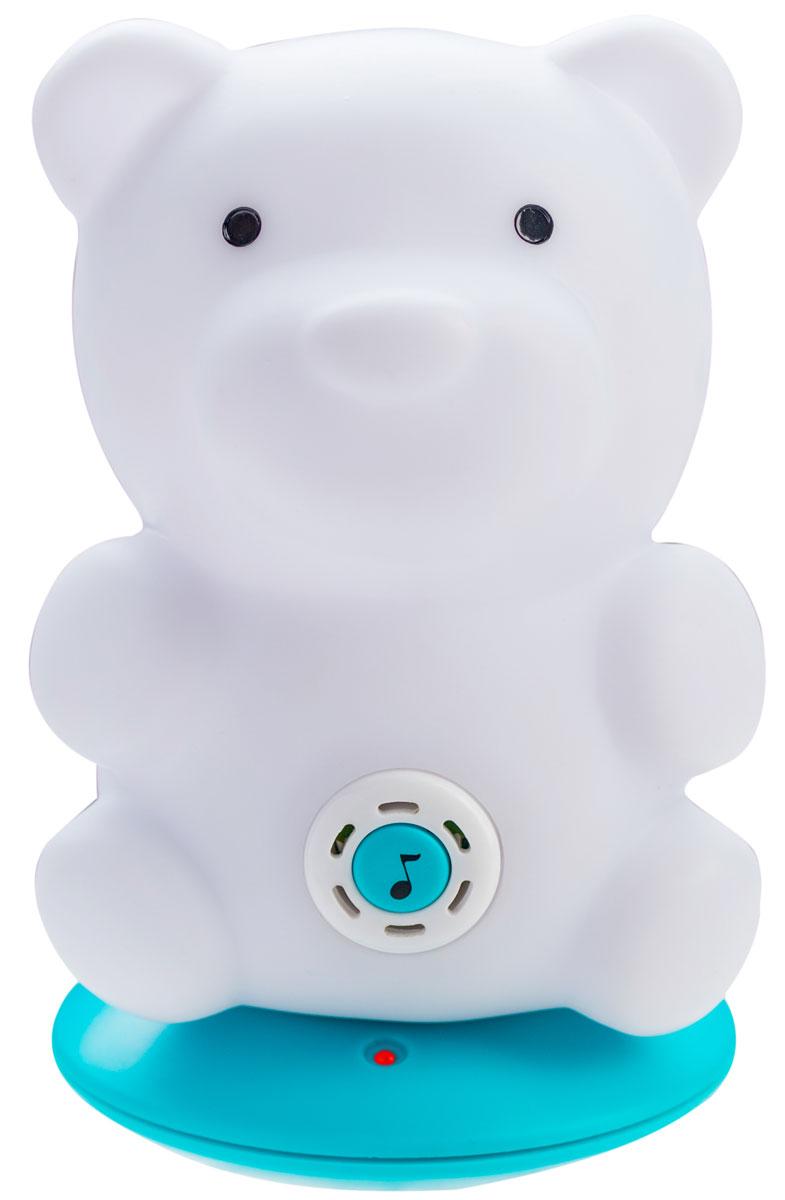 BabyOno Ночник с колыбельными Sleepy Bear961/02Ночник с колыбельными BabyOno Sleepy Bear был разработан с целью быстрого и спокойного засыпания вашего ребенкаНочник имеет 4 режима свечения, переключаемые с помощью кнопки в основании светильника: переменный (успокаивающий) свет, синий, зеленый, красный.Функция колыбельной активируется путем нажатия на кнопку с нотой на животе бегемотика. Каждое последующее нажатие переключает следующую колыбельную. Всего 5 колыбельных, каждая длительностью около минуты. Колыбельная повторяется 20 раз, после чего выключается. Светильник имеет функцию автоматического отключения - он самостоятельно выключится по истечении 30 минут работы. В комплект со светильником также входит база для зарядки встроенного аккумулятора светильника от электросети, блок питания, инструкция на русском языке.Игрушка работает от встроенного Li-Ion аккумулятора.