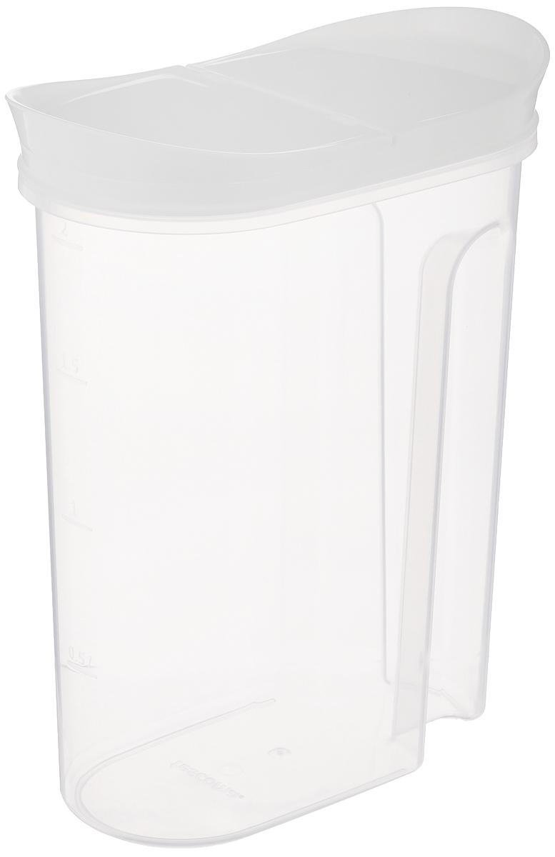 Контейнер для сыпучих продуктов Tescoma 4food, 2 л896954Контейнер с откидной крышкой Tescoma 4foodизготовлен извысококачественного пластика и дополнен мернойшкалой. Изделие подходит длядлительного хранения и дозирования продуктовпитания.Исключительный внешний вид изделия идеальноподходит для любого интерьера. Можно мыть в посудомоечной машине. Подходит дляморозильной камеры.