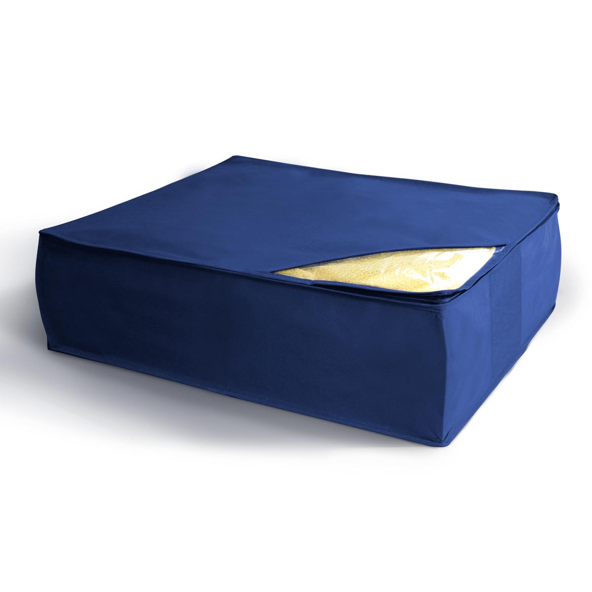Кофр для хранения Miolla, складной, цвет: синий, 50 х 58 х 19 смCHL-5-5Компактный складной кофр Miolla для хранения одеял, подушек и пледов изготовлен из высококачественногонетканого материала, которыйобеспечивает естественную вентиляцию, позволяя воздуху проникать внутрь,но не пропускает пыль. Изделие закрывается на молнию. Размер кофра (в собранном виде): 50 x 58 x 19 см.