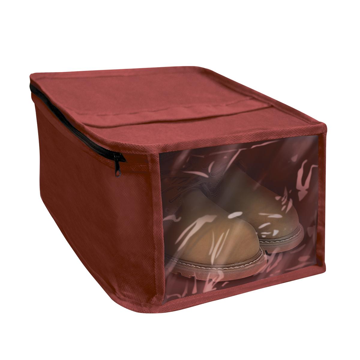 Чехол для хранения обуви Miolla, с окошком, цвет: бордовый, 30 х 25 х 15 см