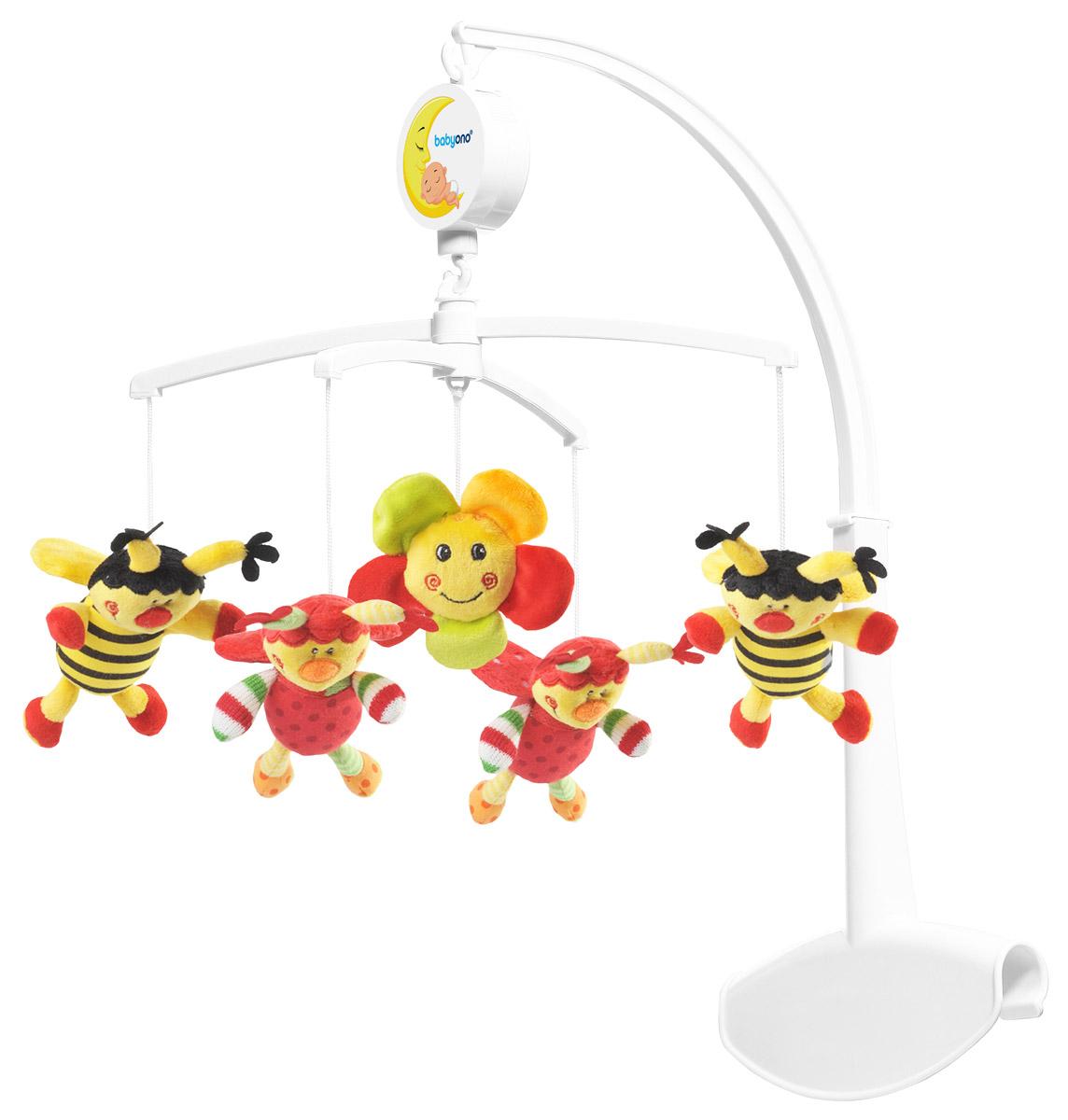BabyOno Музыкальная карусель Божьи коровки и пчелки babyono универсальная карусель с мелодией птички
