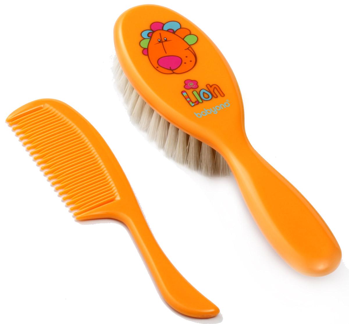 BabyOno Набор детский Лев Расческа и щетка для волос цвет оранжевый babyono мягкая кукла лили цвет коралловый