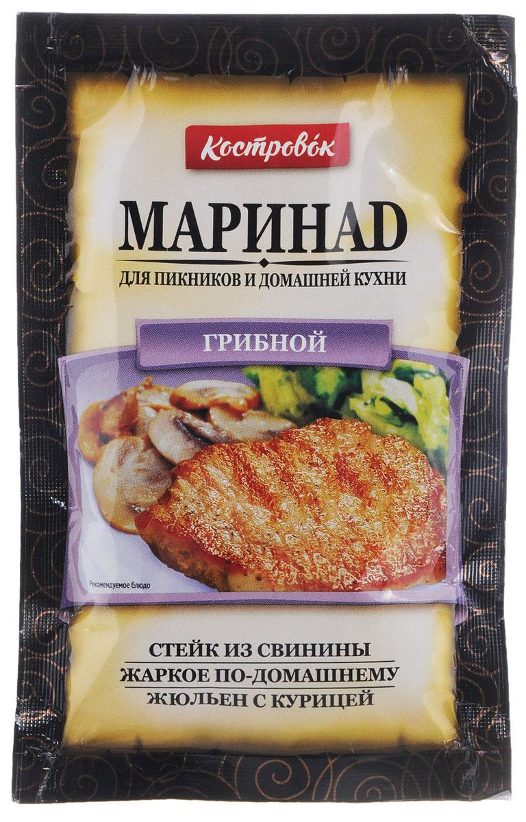Костровок маринад грибной, 80 г450Грибной маринад Костровок предназначен для всех видов мяса, птицы, рыбы и овощей. С ним продукты не пригорают при жарке и сохраняют свою сочность. Маринад подходит для любых способов приготовления: на сковороде, на гриле, в духовке. Продукт изготовлен на основе растительных масел. Один пакет рассчитан на 800 г продукта. На обратной стороне упаковки указаны рецепты приготовления блюд. - Стейк из свининыМясо нарежьте поперек волокон на куски толщиной 1 см. Нанесите равномерно маринад из расчета 1 пакетик на 800 г мяса и оставьте на 2-3 часа для маринования. Мясо жарьте на сковороде до готовности, подавайте с жареными овощами. - Жаркое по-домашнемуМясо свинины (120 г) или птицы нарежьте на кусочки, очищенный картофель (400 г) - дольками, лук репчатый (50 г) - полукольцами, грибы (100 г) - ломтиками. Добавьте 1 пакетик маринада, 2 столовых ложки сметаны или жирных сливок, перемешайте. Запекайте 30-40 минут в горшочке или форме для запекания при температуре 165-175°С. - Жюльен с курицейГрибы (150 г) и лук репчатый (150 г) мелко нарежьте и обжарьте до золотистой корочки. Мясо курицы (500 г) мелко нарежьте, перемешайте с обжаренным луком, грибами и одним пакетиком маринада. Выложите в кокотницу либо форму для запекания, посыпьте тертым сыром. Готовьте 20 минут при температуре 165°C.