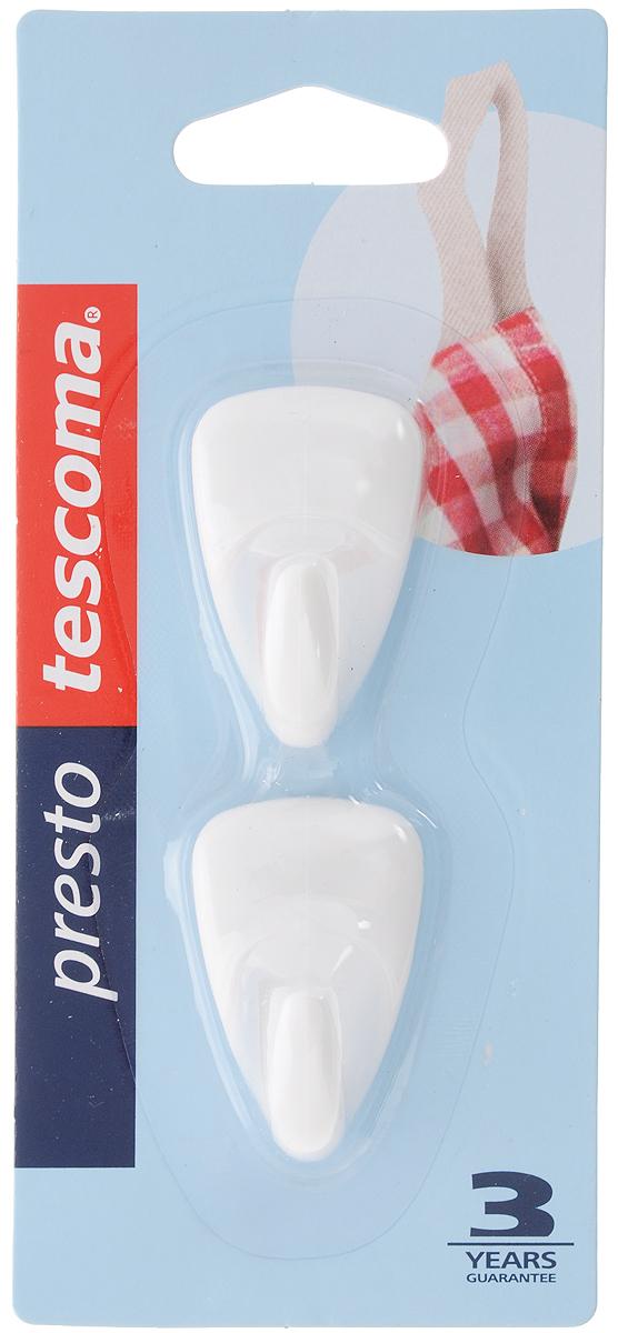 """Крючки Tescoma """"Presto"""", выполненные из пластика, предназначены для постоянного размещения на стене. Изделия отлично подойдут для подвешивания кухонных принадлежностей: полотенец, рукавиц, прихваток и других мелких предметов.Самоклеящиеся крючки легко прикреплять и удобно использовать, после снятия не оставляют следов на поверхности.Комплектация: 2 шт.Размер крючка: 4 х 2,5 см."""