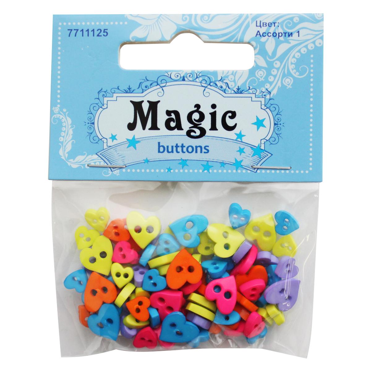Zakazat.ru: Пуговицы декоративные Magic Buttons Сердечки, цвет: желтый, голубой, оранжевый, 5 г. 7711125