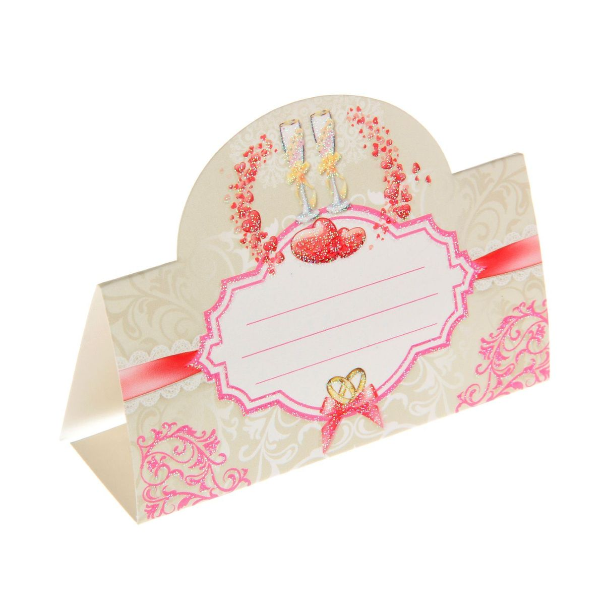 Карточка банкетная Миленд. 12187161218716Красиво оформленный свадебный стол - это эффектное, неординарное и очень значимое обрамление для проведения любого запланированного вами торжества. Банкетная карточка Миленд - это красивое и оригинальное украшение зала, которое дополнит выдержанный стиль мероприятия и передаст праздничное настроение вам и вашим гостям.