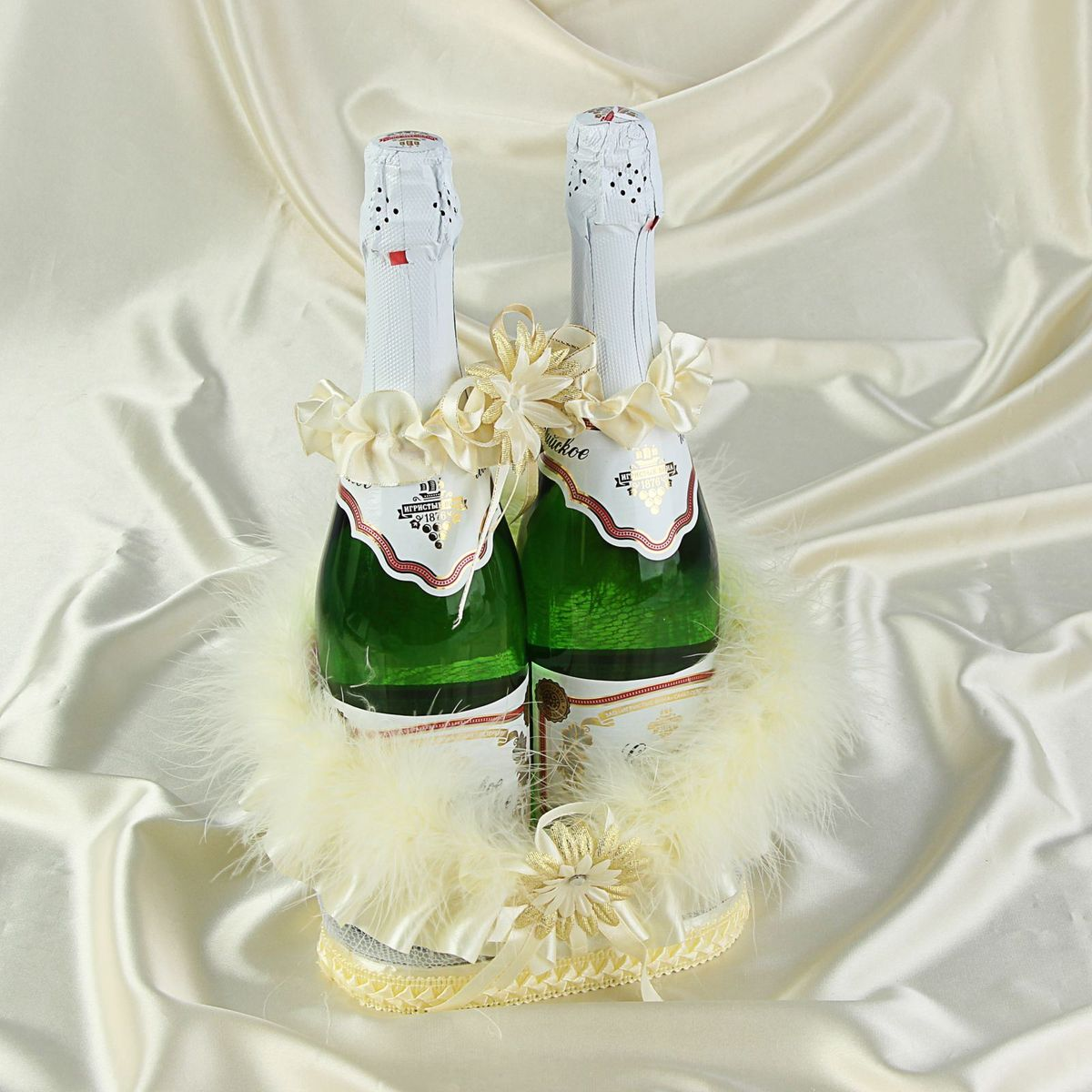 Корзинка для шампанского Sima-land  Венеция , с пушком, цвет: айвори -  Свадебные аксессуары