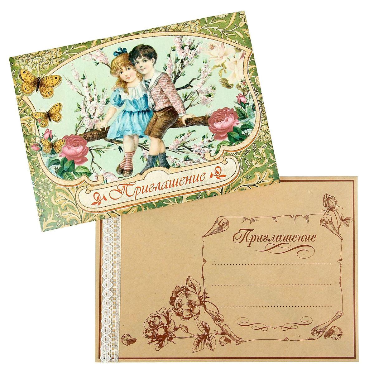 Ретро-приглашение Sima-land Приглашение на свадьбу, 16 x 11,5 см приглашение на свадьбу канышевы счастливые молодожены 6 шт