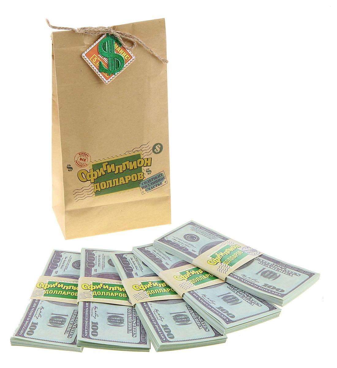 Мешок денег Sima-land Офигиллион Долларов, 4 x 11,5 x 21,4 см761904Хотите весело и щедро выкупить невесту? Легко!Сколько нужно жениху, чтобы родители невесты отдали их бесценное сокровище? Возможно, мешок денег или два. А в каждом – по офигиллиону долларов. Теперь точно хватит!В плотном мешке из бумаги располагается 5 пачек, каждая их которых упакована в бумажную обертку с надписью. Деньги оформлены в виде настоящих стодолларовых купюр. Мешок декорирован бечевкой с эмблемой валюты, которая находится внутри.Теперь дело за малым, осталось лишь послушно выполнять задания подружек невесты и удивлять их своей щедростью!