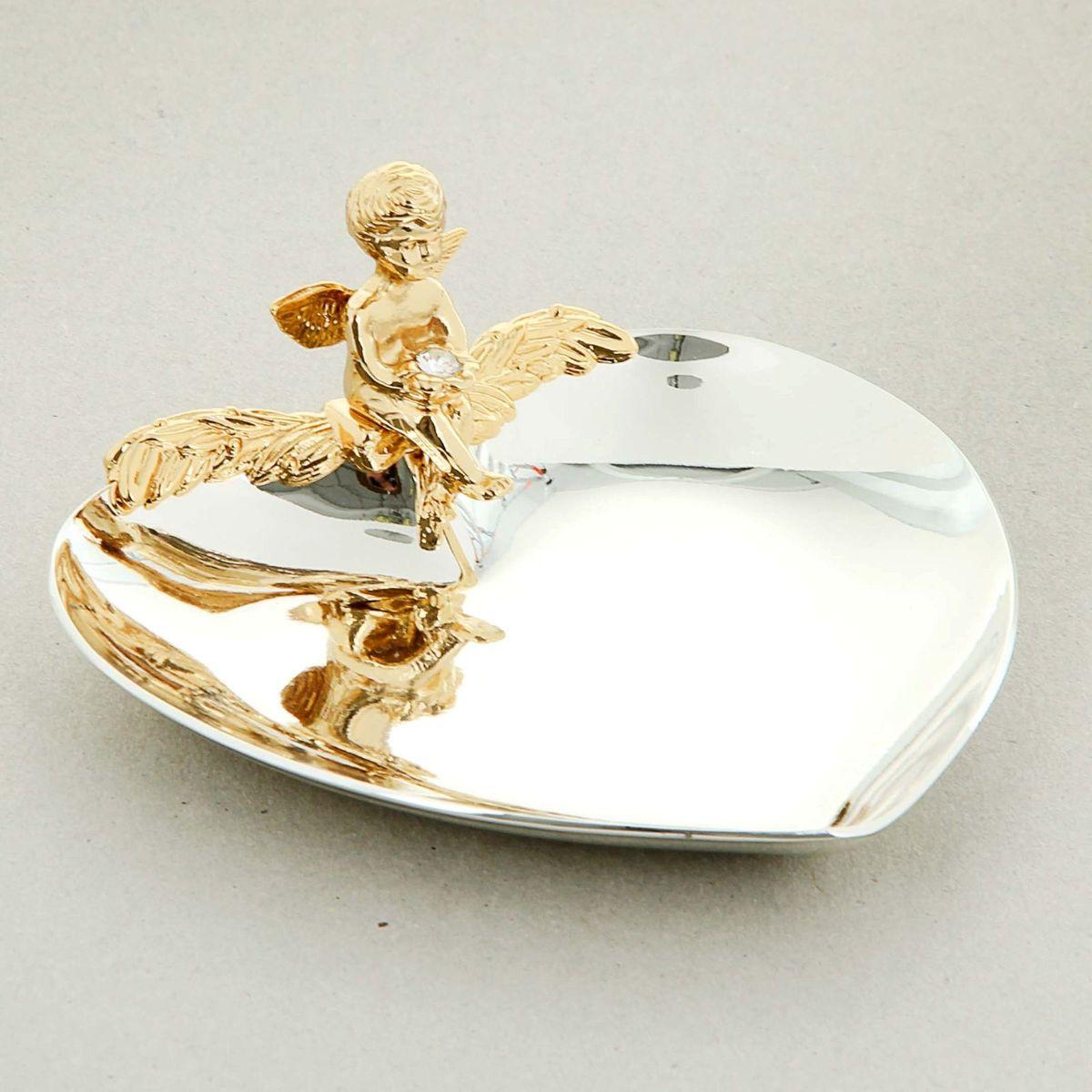 Swarovski Elements Блюдце для колец с ангелом и хрусталиками сваровски u7 люкс crown кольца для женщин модные 18k gold plated платина кубического циркония обручальные обручальные кольца кольца promise