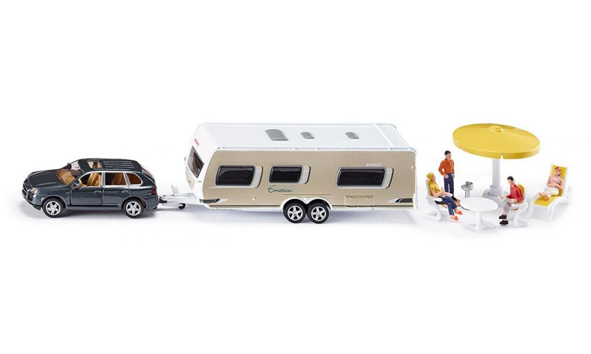 Siku Игровой набор Машина с домом на колесах Porsche Cayenne Turbo siku модель машины с прицепом и спортивной машиной 2544