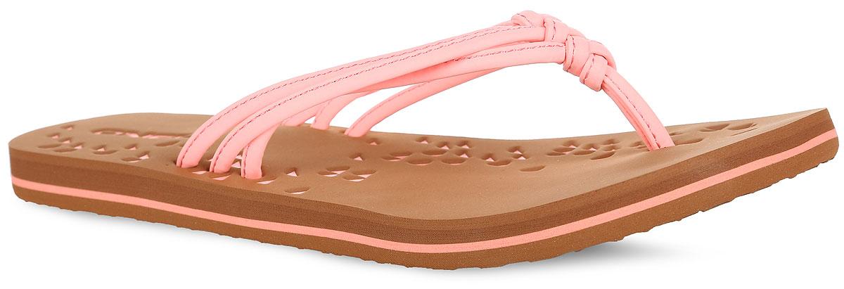 Сланцы женские O`Neill Fw Ditsy, цвет: розовый, коричневый. 609522-3350. Размер 36 (35)609522-3350Прелестные сланцы от ONeill покорят вас с первого взгляда. Верх модели выполнен из полиуретана в виде трех жгутов, оригинально переплетенных между собой. Ремешки с перемычкой гарантируют надежную фиксацию изделия на ноге. Верхняя часть подошвы, которая выполнена из ЭВА материала, декорирована оригинальным геометрическим тиснением и названием бренда. Рельефное основание подошвы из резины обеспечивает уверенное сцепление с любой поверхностью. Удобные сланцы прекрасно подойдут для похода в бассейн или на пляж.