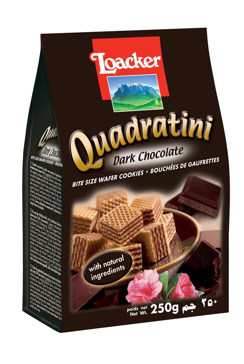 Loacker Квадратини вафли темный шоколад, 250 г agnesi тальолини яичные макароны 250 г