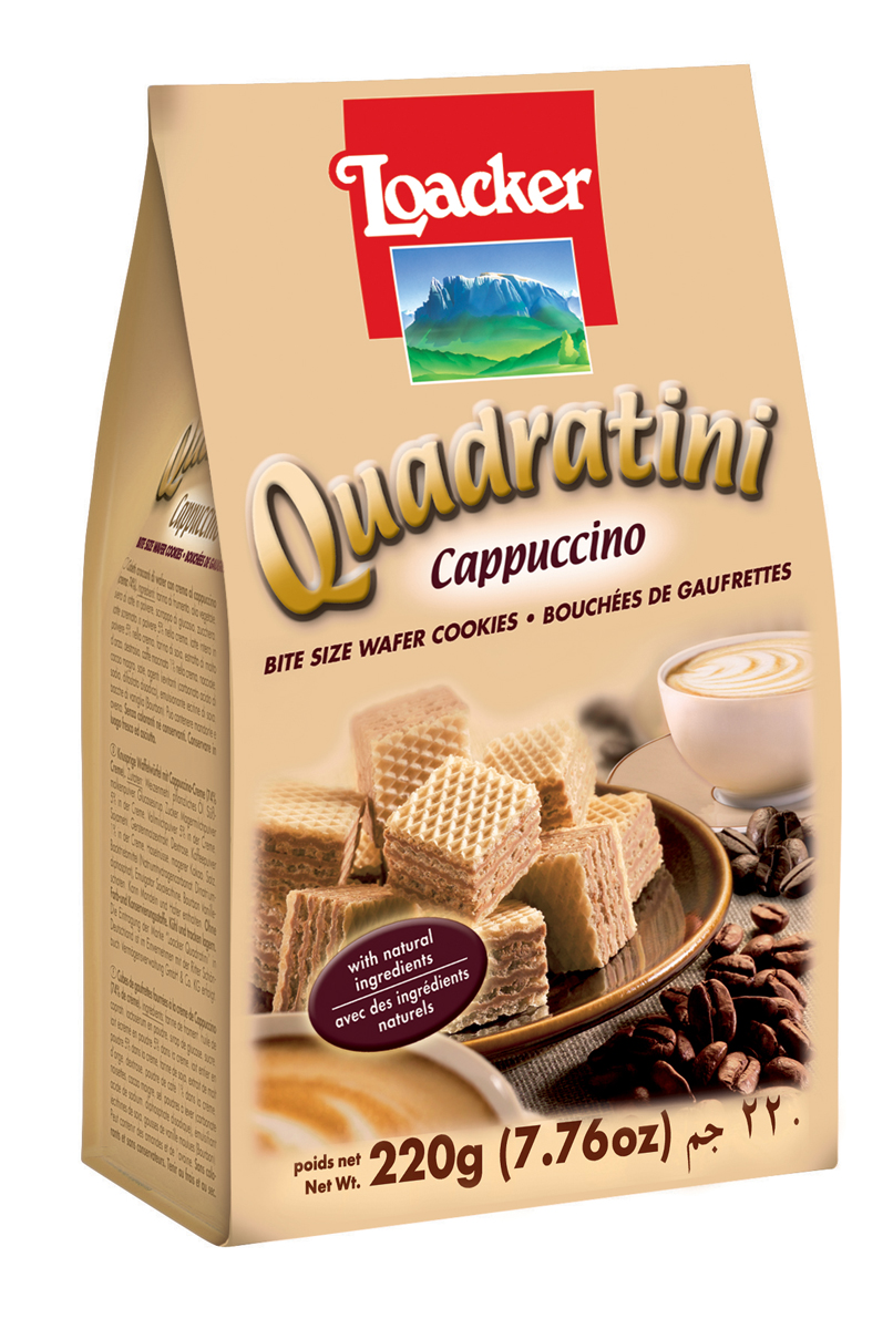 Loacker Квадратини вафли капучино, 220 г коломпенское вафли шоколадный вкус 220 г