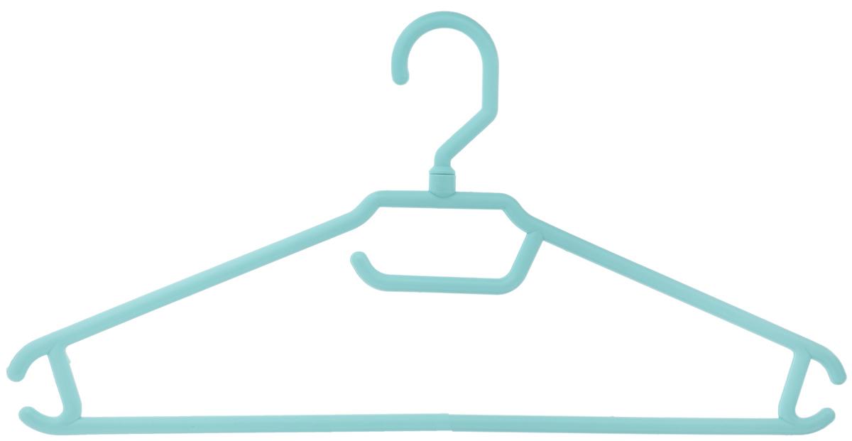 Вешалка для одежды BranQ, цвет: бирюзовый, размер 48-50BQ1892МИКСВешалка BranQ изготовлена из полипропилена. Изделие оснащено перекладиной и боковыми крючками. Вешалка - это незаменимая вещь для того, чтобы одежда всегда оставалась в хорошем состоянии и имела опрятный вид.Размер одежды: 48-50.