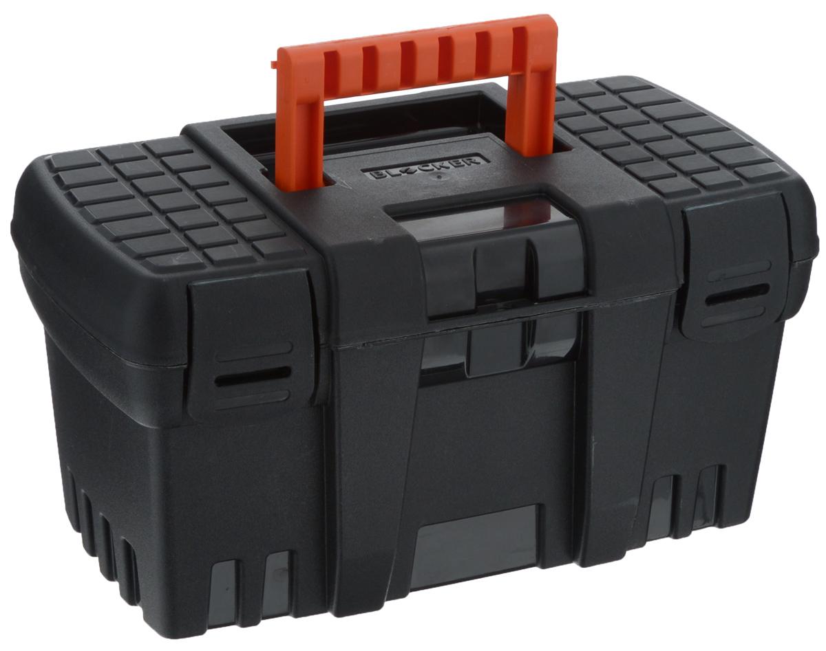 Ящик для инструментов Blocker Techniker, цвет: черный, оранжевый, 26,5 х 15,5 х 14 смBR3746ЧРЯщик Blocker Techniker изготовлен из прочного пластика и предназначен для хранения и переноски инструментов. Вместительный, внутри имеет большое главное отделение.Закрывается при помощи крепких защелок, которые не допускают случайного открывания. Для более комфортного переноса в руках на крышке ящика предусмотрена удобная ручка.