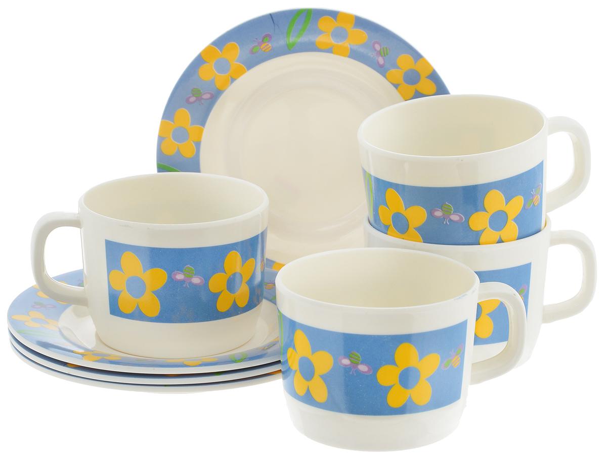 Набор чайный Calve Цветы, 8 предметовCL-2508_белый, синий, желтыйЧайный набор Calve Цветы состоит из 4 чашек и 4 блюдец, выполненных из высококачественного пластика. Изделия оформлены цветочным рисунком. Изящный набор эффектно украсит стол к чаепитию и порадует вас функциональностью и ярким дизайном. Можно мыть в посудомоечной машине.Диаметр блюдца: 14,5 см. Объем чашки: 240 мл. Диаметр чашки (по верхнему краю): 8 см. Высота чашки: 6,4 см.
