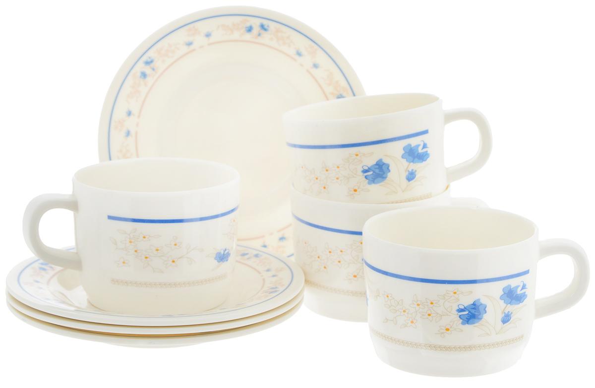 Набор чайный Calve Изящные цветы, 8 предметовCL-2508_белый,синие цветочкиЧайный набор Calve Изящные цветы состоит из 4 чашек и 4 блюдец, выполненных из высококачественного пластика. Изделия оформлены цветочным рисунком. Изящный набор эффектно украсит стол к чаепитию и порадует вас функциональностью и ярким дизайном. Можно мыть в посудомоечной машине.Диаметр блюдца: 14,5 см. Объем чашки: 240 мл. Диаметр чашки (по верхнему краю): 8 см. Высота чашки: 6,4 см.