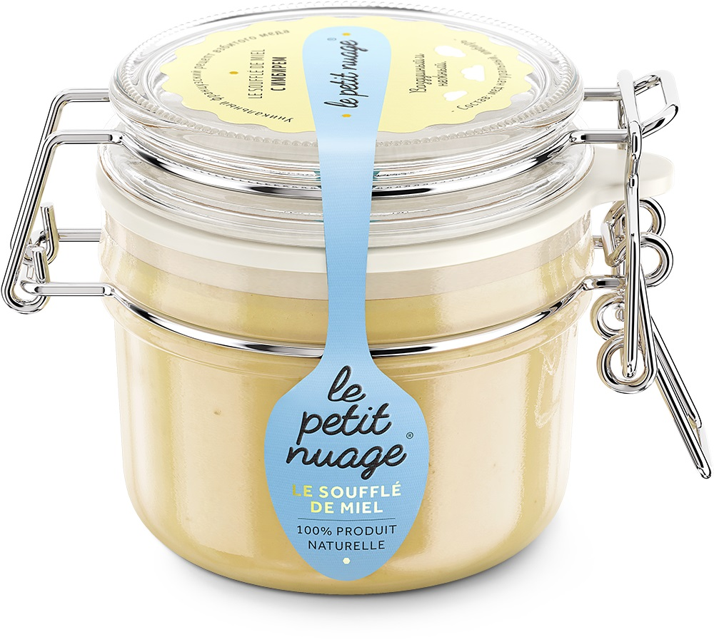 Le Petit Nuage мед-суфле с имбирем, 215 гУПП00005472Мед-суфле Le Petit Nuage c имбирем - отличное сочетание сладкого вкуса и обжигающего послевкусия. Мед с имбирем это универсальное средство от разных недомоганий. Он помогает при простудах, переутомлениях, снижает уровень холестерина, ускоряет обмен веществ.