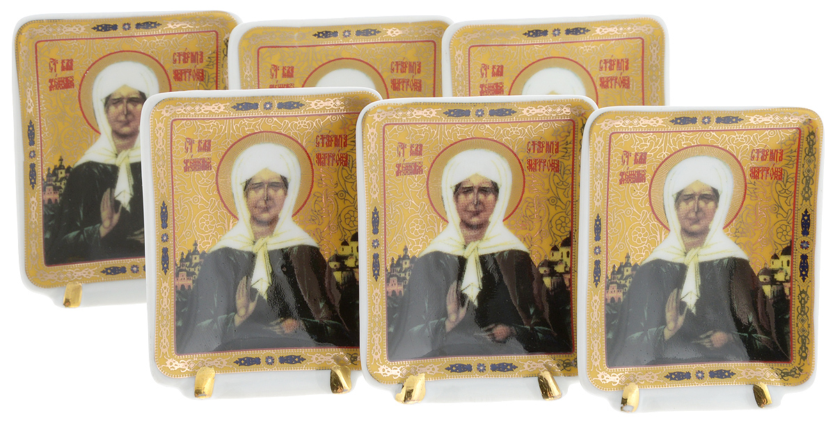 Набор декоративных тарелок Elan Gallery Матрона Московская, на подставках, 5 х 6,5 см, 6 шт икона янтарная матрона московская кян 2 201