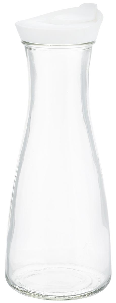 Бутылка для напитков Zeller, цвет: прозрачный, белый, 900 мл19705Бутылка для напитков Zeller, изготовленная из прочного стекла, оснащена пластиковой крышкой с отверстием для жидкости. Это позволяет дозированно наливать содержимое. Изделие предназначено для воды, чая, фруктовых соков и других холодных напитков. Оригинальный дизайн и эргономичная форма превращают бутылку в стильный и функциональный аксессуар. Такая бутылка идеальна для ежедневного использования. Она украсит любой интерьер кухни и пригодится как дома, так и на даче. Диаметр бутылки (по верхнему краю): 6,2 см.Диаметр основания бутылки: 9,5 см.Высота бутылки (с учетом крышки): 26 см.