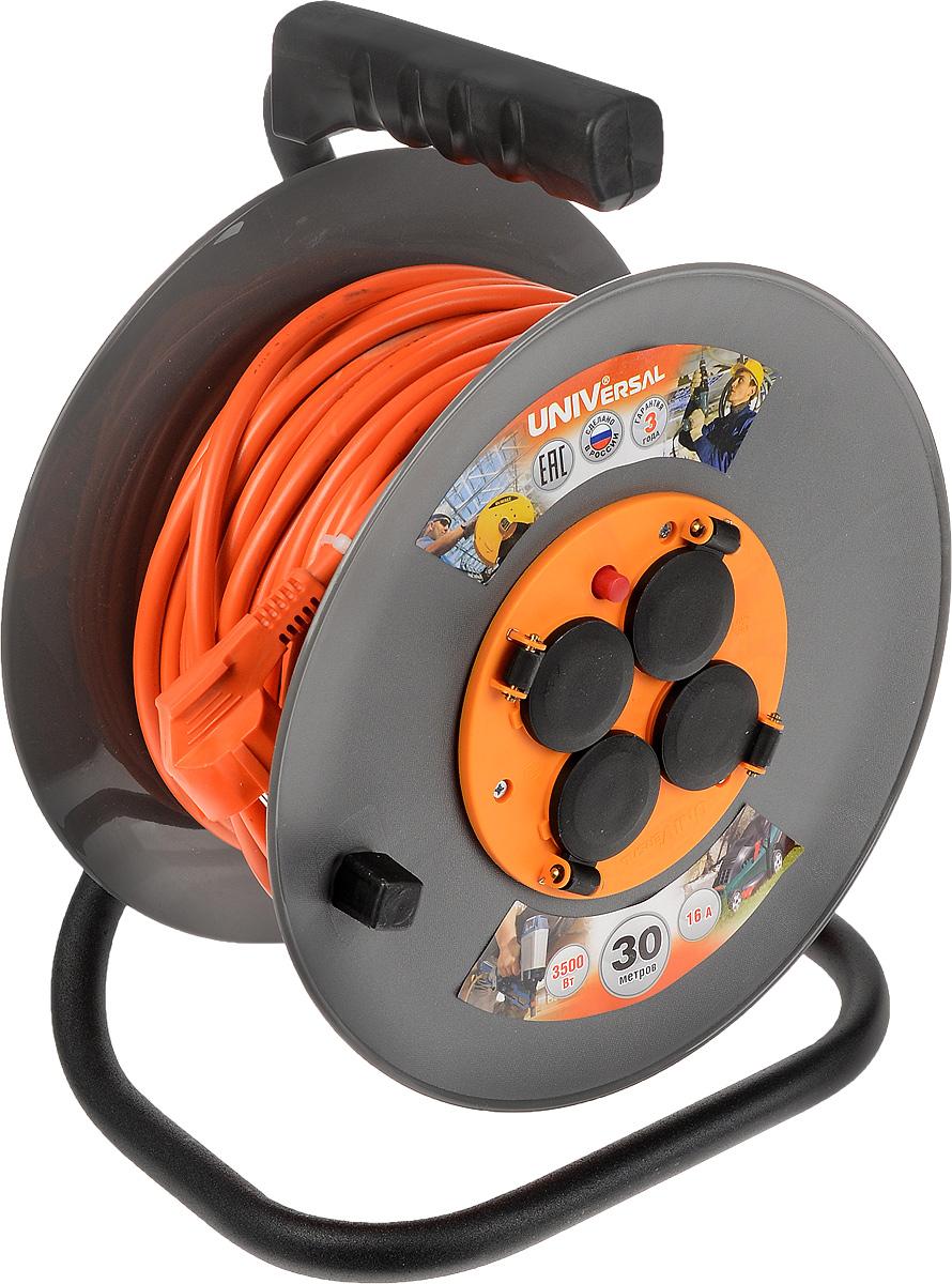 Удлинитель на катушке UNIVersal с заземлением, цвет: оранжевый, серый, черный, 30 м9634174/83283_оранжевый, серый, черныйСиловой удлинитель на катушке UNIVersal с заземлением пригодится в гараже, на приусадебном участке, при проведении строительных, ремонтных и монтажных работ. Позволяет подключить до четырех электроприборов. Рассчитан на напряжение 220 В. Быстро сматывается/разматывается, экономя время пользователя, удобен в хранении. Провод с поливинилхлоридной изоляцией обеспечивает надежность и безопасность работы. Прочная рама придает надежность конструкции. Длина провода: 30 м. Количество розеток: 4 шт. Максимальная мощность: 3500 Вт. Провод: ПВС 3 х 1,5 мм.
