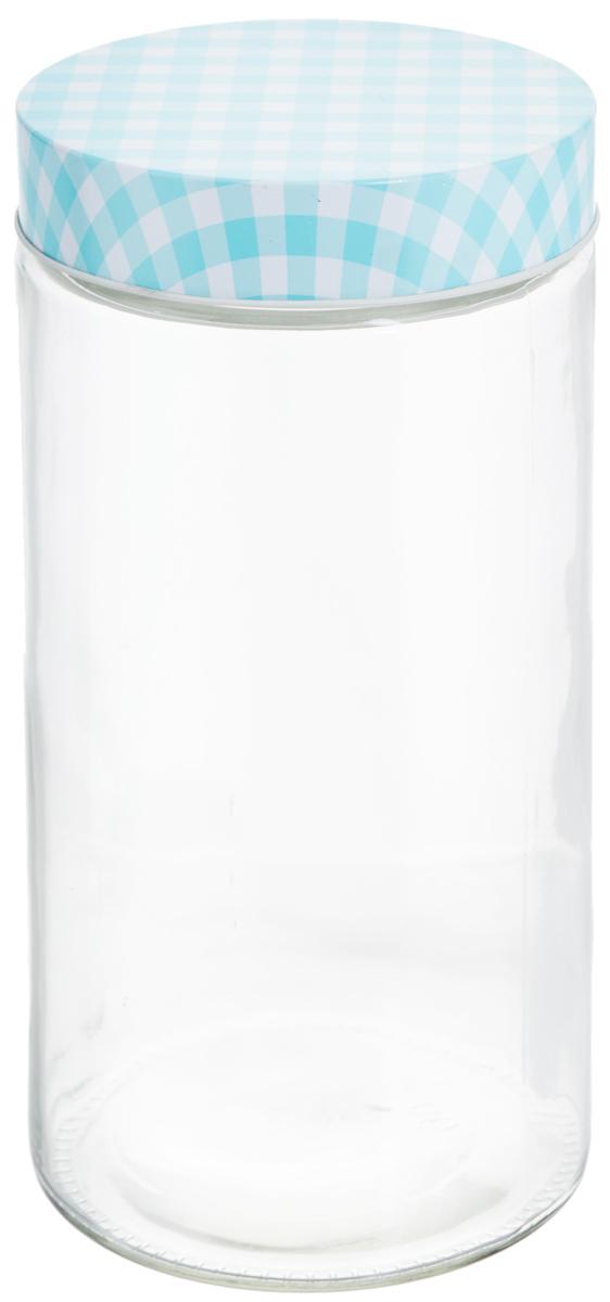 Банка для хранения Zeller, цвет: прозрачный, голубой, 2,1 л банка для продуктов zeller диаметр 22 см