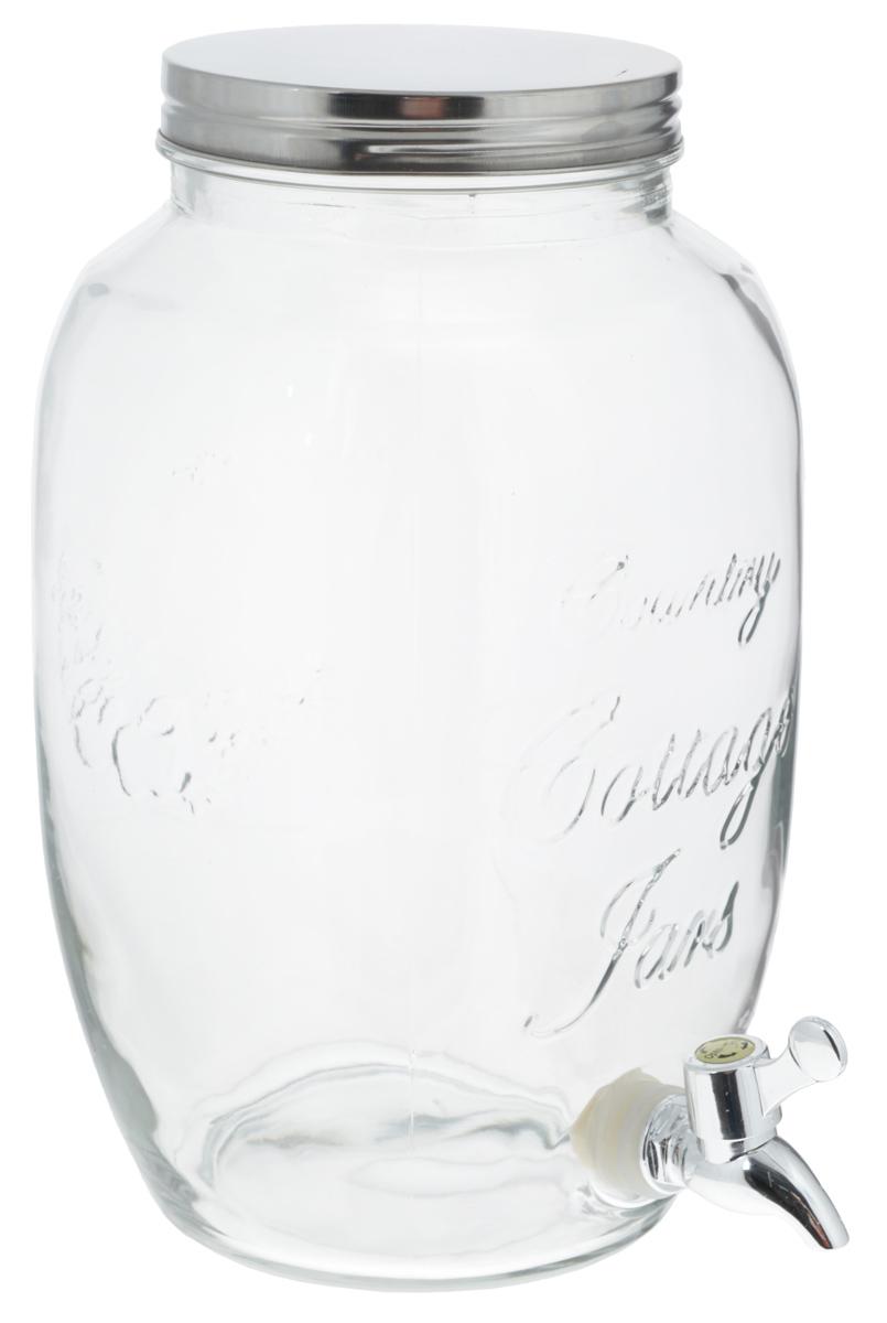 """Банка """"Zeller"""", выполненная из прочного стекла, оснащена  металлической крышкой и пластиковым краном для выливания  жидкости. Изделие станет идеальным вариантом для хранения  и подачи полезных лимонадов, ароматных свежевыжатых соков  и других напитков. Такая банка украсит интерьер любой кухни и станет отличным  подарком для ваших родных и близких. Диаметр банки (по верхнему краю): 12,5 см. Высота банки (без учета крышки): 30 см."""