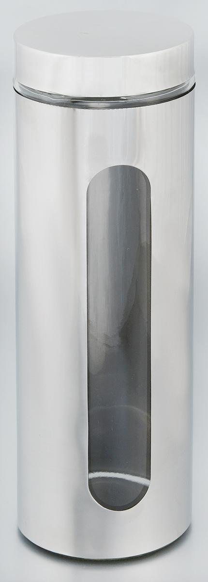 Банка для хранения Zeller, 1,5 л. 1994819948Банка Zeller, выполненная из антикоррозийной стали и прочного стекла, снабжена крышкой, которая плотно и герметично закрывается, дольше сохраняя аромат и свежесть содержимого. Изделие подходит для хранения сыпучих продуктов: круп, чая, специй, орехов, сахара и многого другого. Банка имеет прозрачное окошко. Благодаря антистатической поверхности продукты не прилипают к стеклянному окошку, поэтому вы всегда можете видеть, что и в каком количестве содержится внутри. Такая функциональная и вместительная банка станет незаменимым аксессуаром на любой кухне. Диаметр банки (по верхнему краю): 9 см.Высота банки (без учета крышки): 30,5 см.